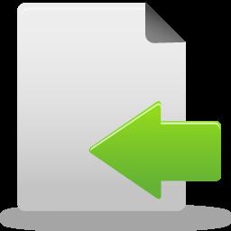 Arrow, Document, File, Import, Left, Move Icon
