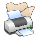 Beige, Folder, Printer Icon