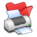 Folder, Printer, Red Icon