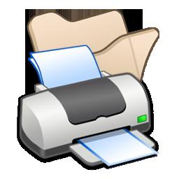 Beige, Folder, Printer Icon
