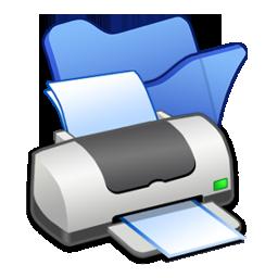 Blue, Folder, Printer Icon
