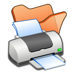 Folder, Orange, Printer Icon