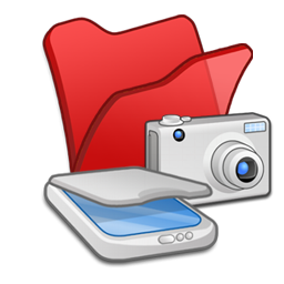 &Amp, Cameras, Folder, Red, Scanners Icon