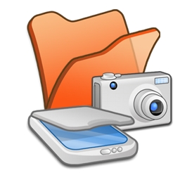 &Amp, Cameras, Folder, Orange, Scanners Icon