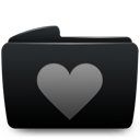 Black, Folder, Heart Icon