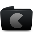 Black, Folder, Games Icon