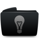Black, Folder, Idea Icon