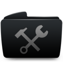 Black, Folder, Utilities Icon