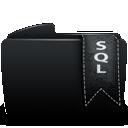Black, Folder, Sql Icon