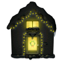 Christmas, House, Lights, Snowy Icon