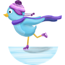 Bird, Skating, Twitter, Winter Icon