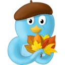 Bird, Fall, Leaves, Twitter Icon