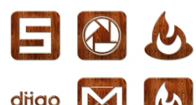 Glossy Waxed Wood Icons