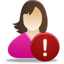 Female, User, Warning Icon