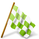 Chartreuse, Chequered, Flag, Map, Marker, Right Icon