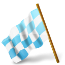 Azure, Chequered, Flag, Left, Map, Marker Icon
