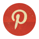 Pinterest, Retro, Rounded Icon