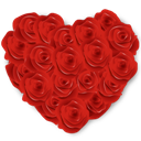 Flowers, Heart, Roses Icon