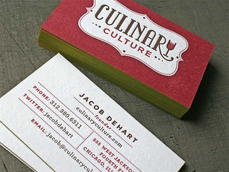 Culinary Culture Letterpress business card