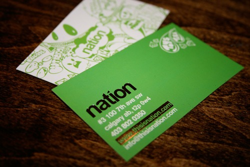 green,foil stamped,stylish business card
