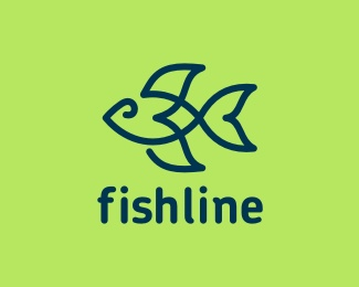 animal,fish,lines,complex logo