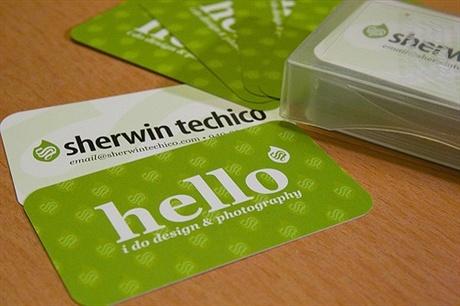 green,round corner business card