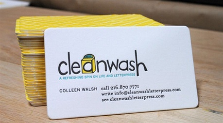 Clean Wash Letterpress business card