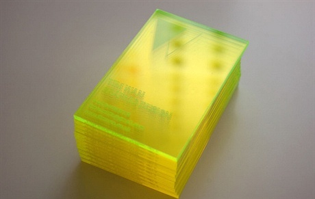 fluorescent,transparent,laser cut,plastic business card