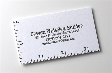 scale,letterpress business card