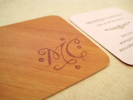 wooden,round corner business card