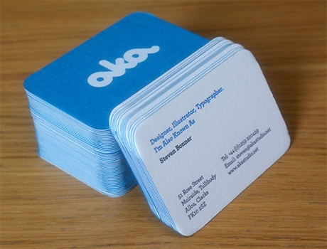 2 color,letterpress,round corner business card