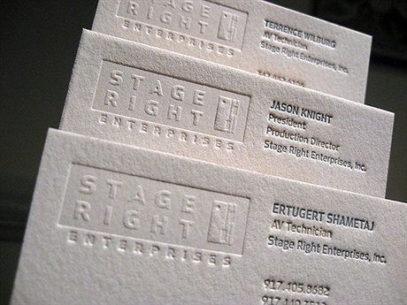 embossed,letterpress business card