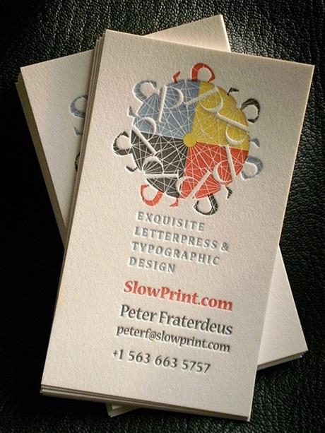 letterpress,multi color business card