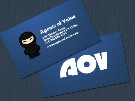 blue,fancy business card