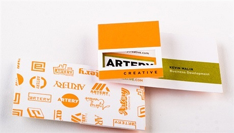 creative,orange,die cut,folding business card