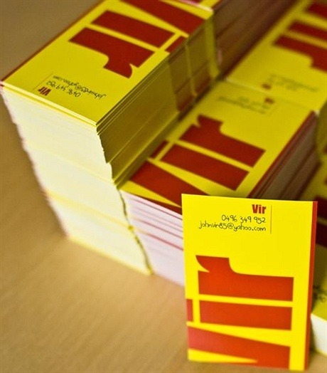 yellow business card