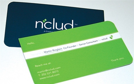 blue,green,round corner business card