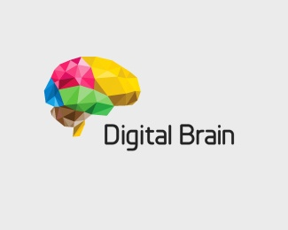 3d,digital,diamond,colorful,brain logo
