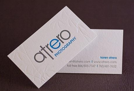 fluorescent,2 color,cotton paper,debossed,letterpress business card