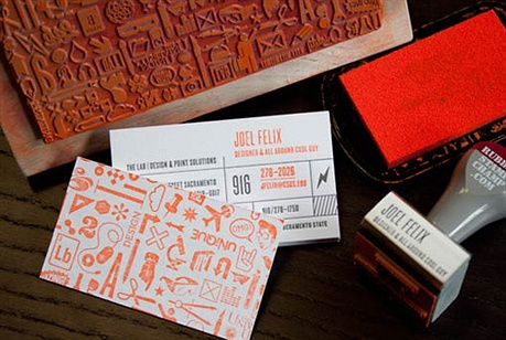 Letterpress Rubber Stamped Cards business card