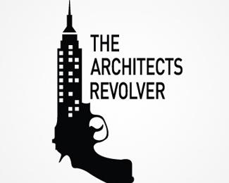 building,weapon,revolver,architecture logo