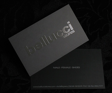 black,embossed,foil stamped business card