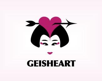 arrow,face,heart,woman,girl logo