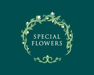 flower,leaf,round logo