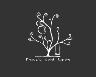 love,peach,tree logo