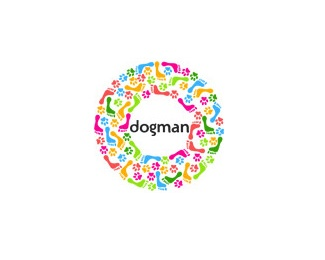 print,round,colorful,paws,foot logo