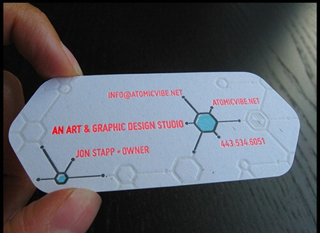 Atomic Vibe Letterpress business card