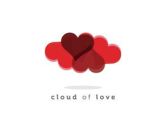 3d,cloud,heart,love logo