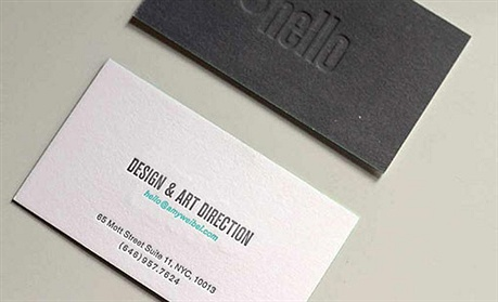 minimalistic,debossed business card