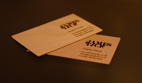 Laser Etched Wooden Card business card